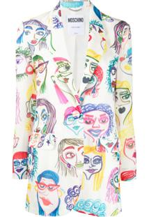 Moschino Blazer Com Estampa De Faces - Branco