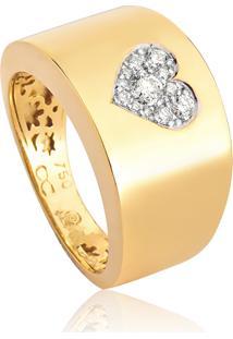 Anel De Ouro 18K De Coração Com Diamantes