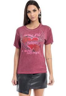 Camiseta Heartbreaker Moikana Feminina - Feminino-Vermelho