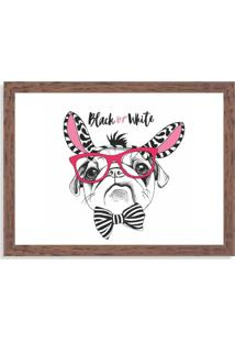 Quadro Decorativo Black Or White Pug Madeira - Grande