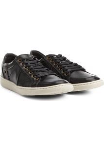 Sapatênis Couro Shoestock Recortes Masculino - Masculino-Preto