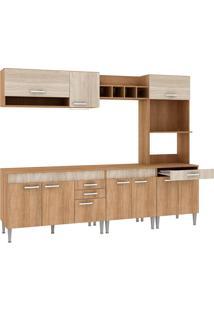 Cozinha Completa Com Tampo 10 Portas Cc02 Carvalho/Blanche/Bordô - Fellicci