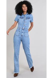Macacão Jeans Feminino Com Bolsos E Botões Azul Médio