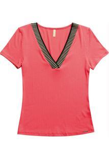 Blusa Decote V Com Retilínea Rosa