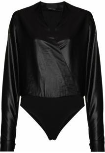 Rta Faux-Leather V-Neck Bodysuit - Preto