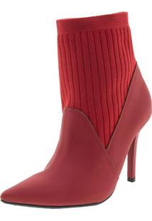 9b17b0d94 Clóvis Calçados. Bota Feminina Salto Alto Vermelha Via Marte ...