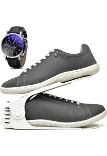 Kit Sapatênis Sapato Casual Com Organizador E Relógio Dubuy 900Db Cinza - Kanui