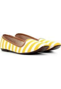 Sapatilha Moleca Slipper Listrada Feminina - Feminino-Amarelo