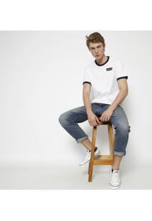 "Camiseta ""Levi'Sâ®"" Com Recortes- Branca & Pretalevis"