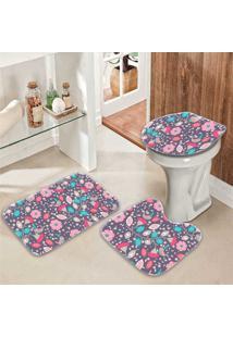 Jogo Tapetes Para Banheiro Floral Duo - Único