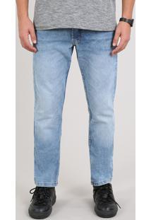 Calça Jeans Masculina Slim Com Bolsos Azul Claro