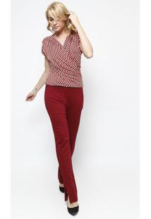 Blusa Com Transpasse - Vermelha & Pretasimple Life