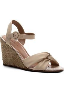 Sandália Anabela Shoestock Couro Nó Feminina - Feminino-Bege