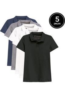 Kit De 5 Camisas Polo Femininas De Várias Cores Branco - Kanui