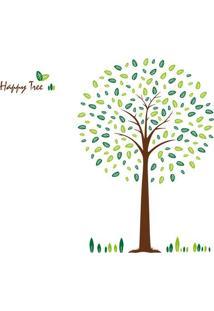 Adesivo De Parede Happy Tree- Verde Claro & Marrom Claroevolux