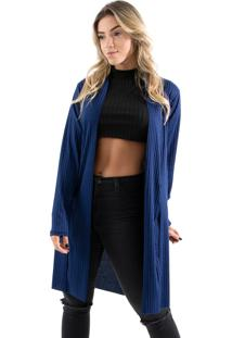 Cardigan Kimono Diluxo Canelado Azul