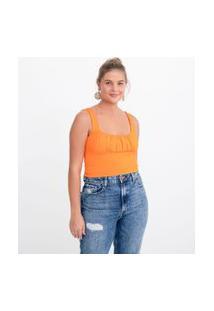 Blusa Cropped Lisa Em Algodão Com Franzido No Busto | Blue Steel | Laranja | Pp