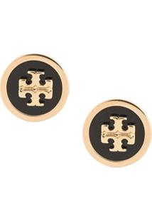 Tory Burch Logo Stud Earrings - Dourado