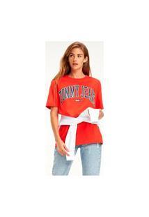 T-Shirt Tommy Jeans Colegial Logo Vermelho Tam. Gg