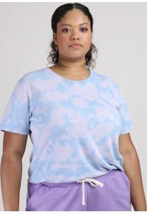 T-Shirt Feminina Plus Size Mindset Estampada Tie Dye Manga Curta Decote Redondo Lilás