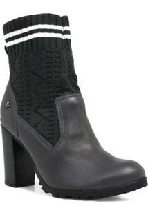 Bota Cravo E Canela Ankle Boot Salto Feminina - Feminino-Cinza