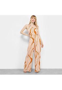 Macacão Cantão Estampado Pantalona Um Ombro Só Feminino - Feminino-Areia