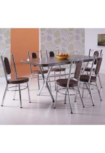 Conjunto De Mesa Retangular Com 6 Cadeiras Pórtico Móveis Brastubo Ameixa Negra/Tabaco