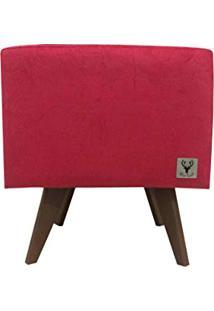 Puff Pé Palito Quadrado Alce Couch Suede Amassado Vermelho 40Cm