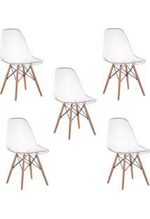 Cadeira Impã©Rio Brazil Cadeira Charles Eames Eiffel Wood - Policarbonato Transparente - Incolor - Dafiti