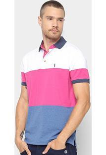 Camisa Polo Aleatory Estampa Listrada Masculina - Masculino-Branco+Rosa