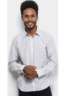 Camisa Manga Longa Ellus Listrada Dobby Striped 60 Masculina - Masculino-Bordô