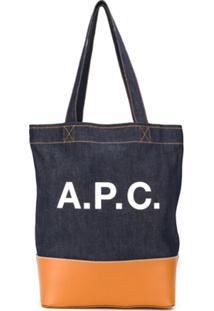 A.P.C. Denim Logo Print Tote - Azul