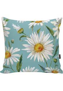 Capa Para Almofada Flowers- Verde Água & Branca- 45Xstm Home