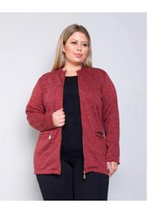 Casaco Palank Plus Size Crush Feminino - Feminino-Vermelho