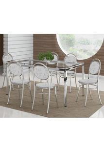 Mesa 328 Vidro Incolor Cromada Com 6 Cadeiras 190 Fantasia Branco Carraro