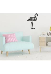 Escultura De Parede Em Mdf Flamingo Preto - Médio