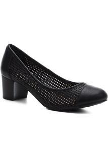 Scarpin Shoestock Vazado Salto Bloco - Feminino-Preto
