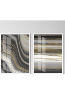 Quadro 65X90Cm Abstrato Atlanta Moldura Branca Sem Vidro Decorativo Interiores