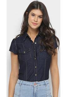 Body Camisa Jeans Zune Manga Curta Feminino - Feminino-Azul