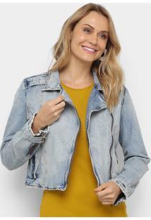 Jaqueta Jeans Cropped Carmim Feminina - Feminino-Azul Claro