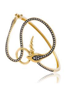 Bracelete Eva Com Fecho Amarelo C/ Diamante Branco E Ttlb - U