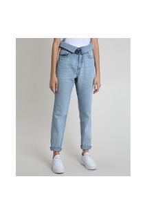 Calça Jeans Feminina Mom Cintura Super Alta Com Cós Dobrado E Cinto Azul Claro