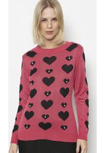 Blusa Em Tricot Coraã§Ãµes- Pink & Preta- Ponto Aguiarponto Aguiar