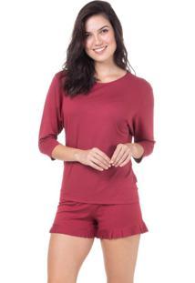 Pijama Curto Babados Homewear Bordô | 589.072