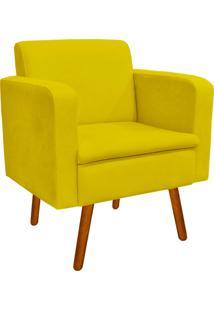 Poltrona Decorativa Emília Suede Amarelo - D'Rossi