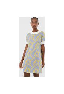 Vestido Lança Perfume Curto Folhagem Azul/Amarelo