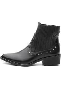 Bota Ankle Boot Couro Venetto Country Preta - Tricae