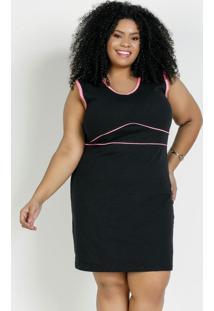 Vestido Curto Preto E Rosa Neon Plus Size