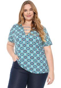 Blusa Cativa Plus Estampada Verde/Azul-Marinho