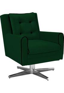 Poltrona Decorativa Madri Suede Verde Com Base Estrela Em Alumínio - D'Rossi